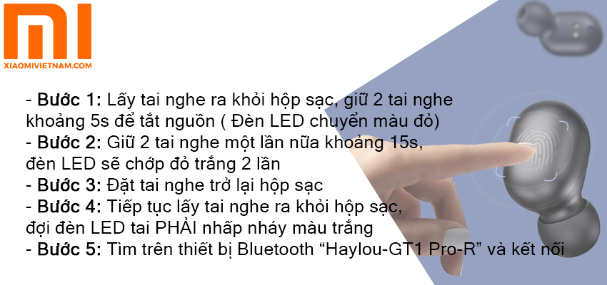 Reset tai nghe Haylou GT 1 Pro